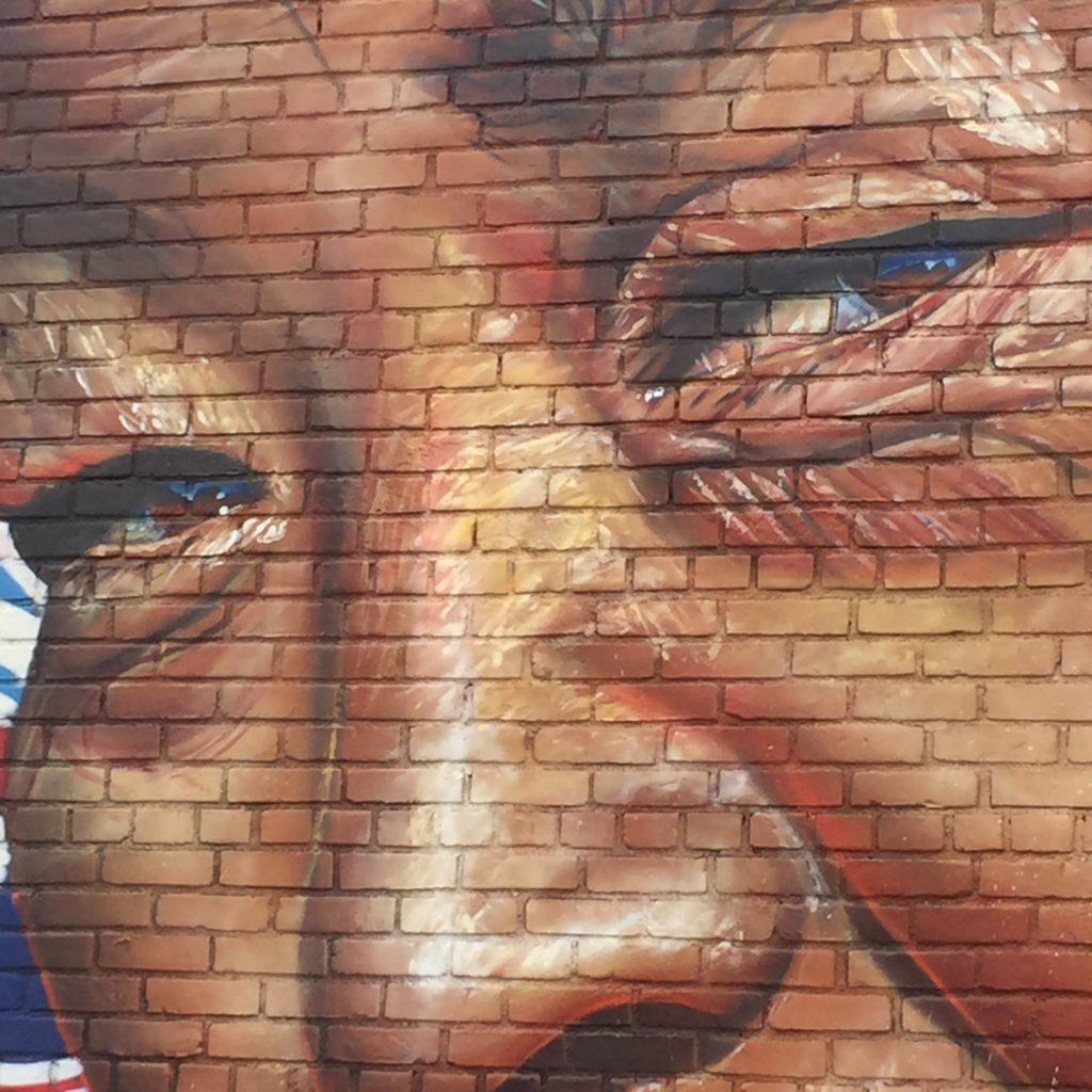 """Détail de la fresque """"Freedom"""" de l'artiste Li-Hill"""