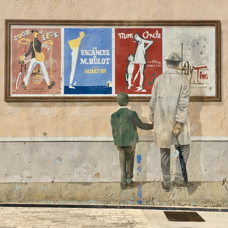 Détail de la fresque avec Jacques Tati
