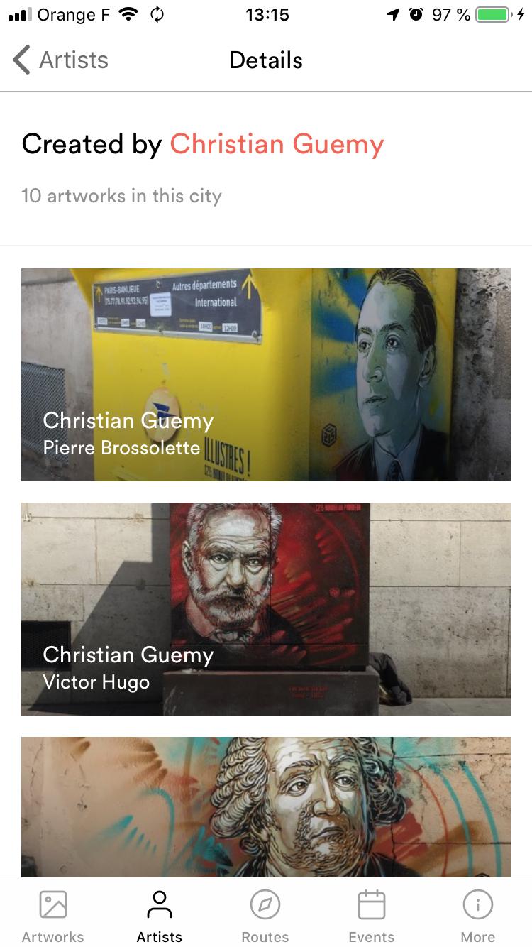 Géolocalisation oeuvre Christian Guemy - C215 paris