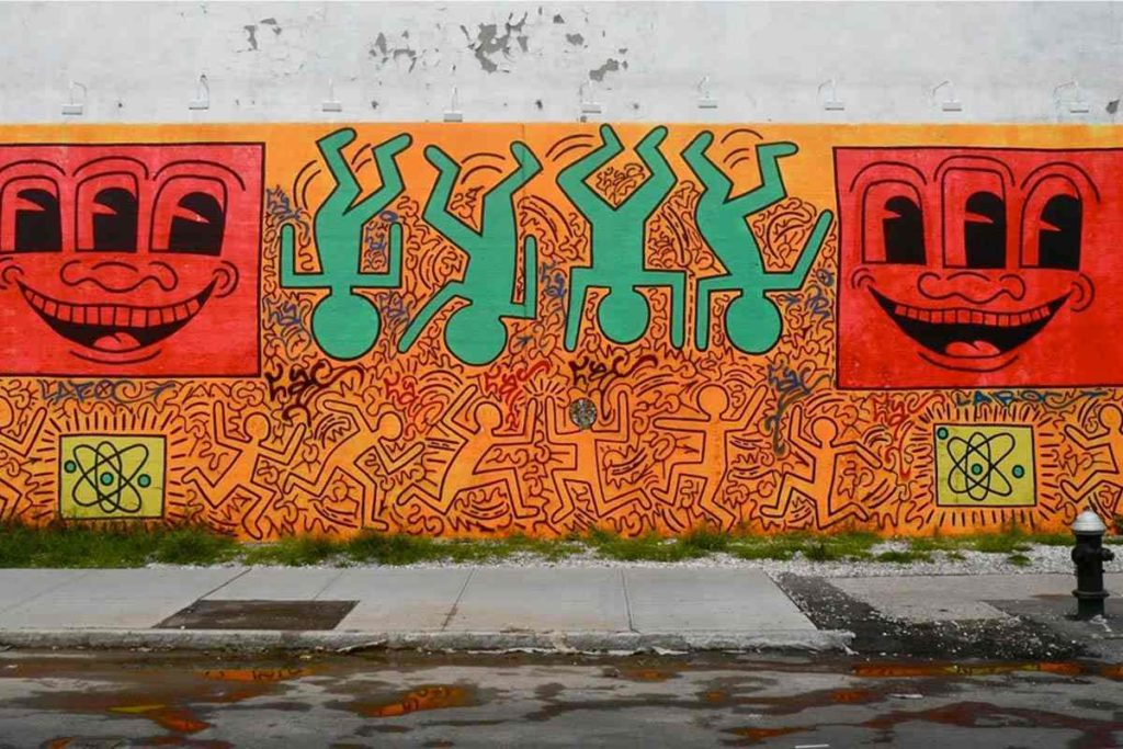 Réplique du mur original de Keith Haring au Houston Bowery Wall